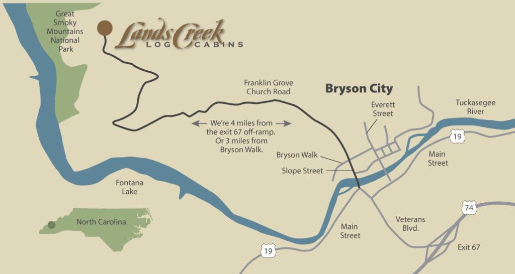 Bryson Nc Map.Bryson City Cabin Rentals Directions Lands Creek Log Cabins