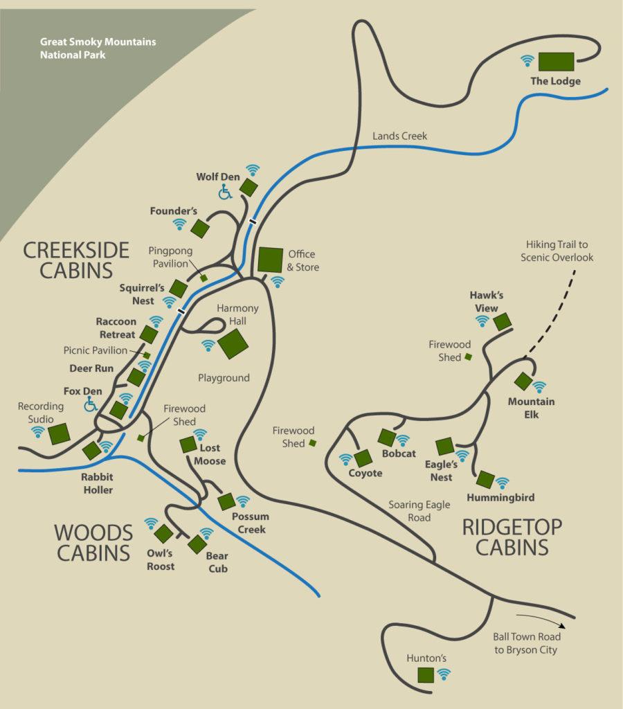 Bryson Nc Map.Property Map Lands Creek Log Cabins
